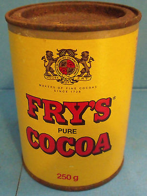 """#3292 Fry's Cocoa Tin; full; new """"old stock""""; this is the old can with the metal"""