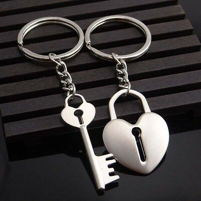 1 x Pair Key and Heart Couple Romantic keyring keychain keyfob Valuntines Gift