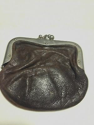 Vintage Antique Coin Change Purse Distressed Leather Good Condition