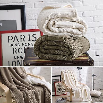 New Cotton Knitted Blanket & Coral fleece Lining Blanket Bed Spread Throw Rug