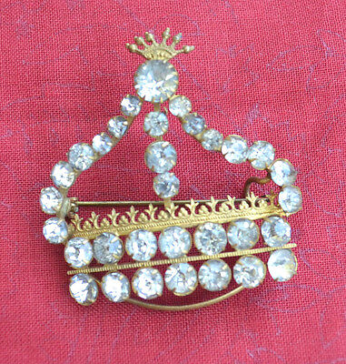 Antique Victorian Clear Rhinestones In Gold Tone Metal Crown Brooch Pin