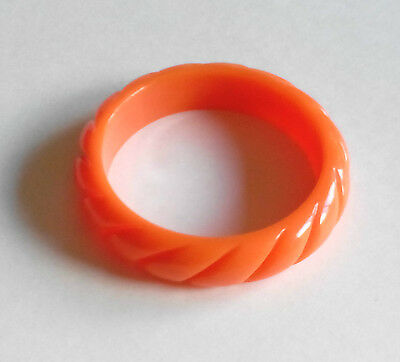 Orange Tone Carved Resin Plastic Domed Bangle Bracelet