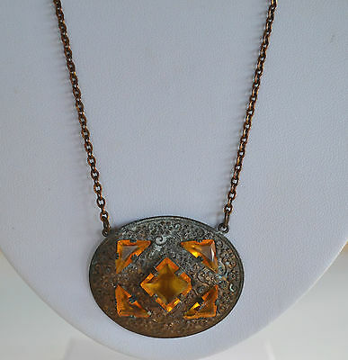 Antique Victorian Repousse Brass & Open Back Czech Amber Crystal Necklace