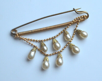 Art Deco Brass Pin 2 Strands Faux Drop Pearls