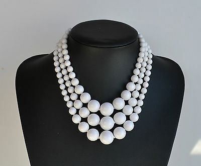 vintage signed Japan white coral imitation 3 rows plastic necklace hand knotted