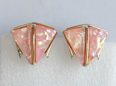 VINTAGE molded translucent pink lucite embedded confetti earrings rhodium plated