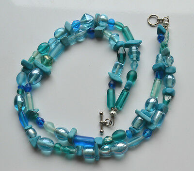 Vintage MURANO GLASS TRADE BEADS & TURQUOISE BEADED 2 ROWS NECKLACE BLUE GREEN
