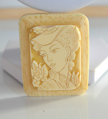 Art Deco 3D hand carved lady portrait celluloid brooch pin cream tone lot detail