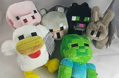 NEW Minecraft 2017 Plush Set of 6 (Baby Rabbit Cat Wolf Zombie Pig Chicken)