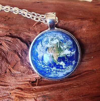 Handmade Earth Globe pendant necklace silver color tray and chain
