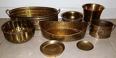 Lot of 8 Vintage Brass Planters/ Pots /Bowls Assorted sizes Hollywood Regency