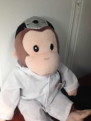 """Curious George Doctor Plush Stuffed Doll Toy Book Monkey Animal Applause 12"""""""