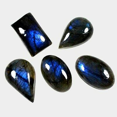 86 Ct.~ 5 Pc Aaa Blue~Power Natural Labradorite Fancy Cab Loose Gemstone A 30008