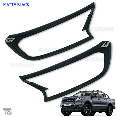 Rhino Fitt Black Front Head Lamp Lights Cover Fits Ford Ranger Px2 Mk2 2015 - 17