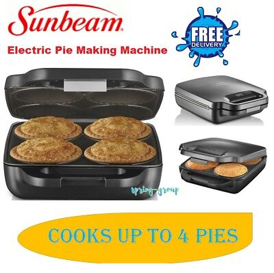 Pie Maker Sunbeam 4 Pie Cooker Machine Party Snack Meal Meat Veg Pies Deep Dish
