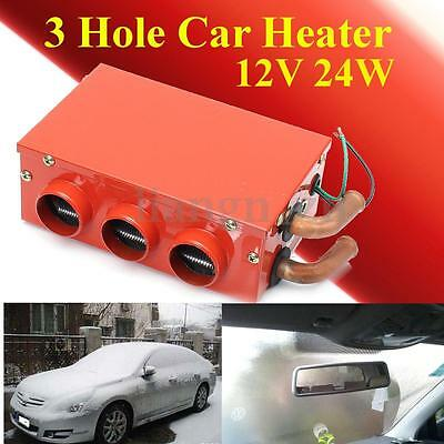 12V 24W Three Hole Car Heater Warmer Thermostat Fan Window Defroster Demister