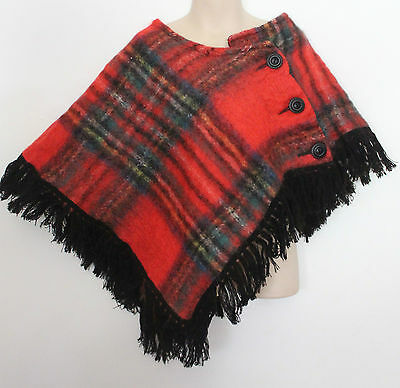 VINTAGE ~ 1970s Children's Stewart Tartan Scottish Mohair Asymmetric Poncho