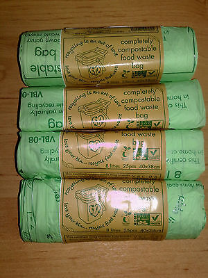 8 Litre Compostable Kitchen Caddy Liners Biodegradable Food Waste Bin Bags 8L