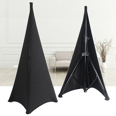 2X Speaker Stands Scrim Spandex Lycra Double Sided DJ Tripod Black Stretch Cover
