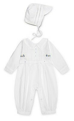 Aurora Royal Baby Boy's White Traditional Longall Romper & Matching Hat Outfit