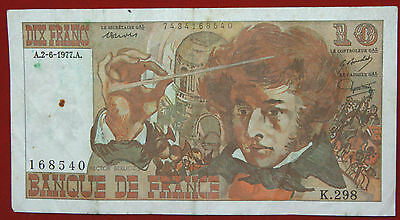 FRANCE 10 FRANCS BANKNOTE  HECTOR BERLIOZ 2.6.1977 P 150c