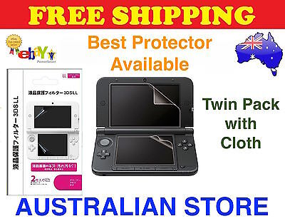 2in1 Set Top & Bottom LCD Screen Protector Cover Film For Nintendo 3DS XL LL