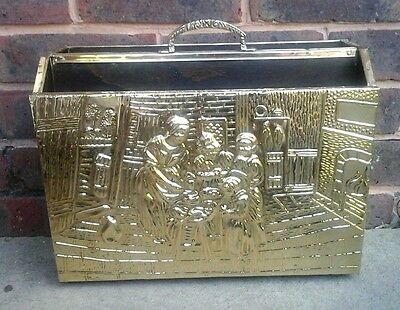 Stunning 1930s Vintage Traditional Old Embossed Brass & Wood Magazine Rack