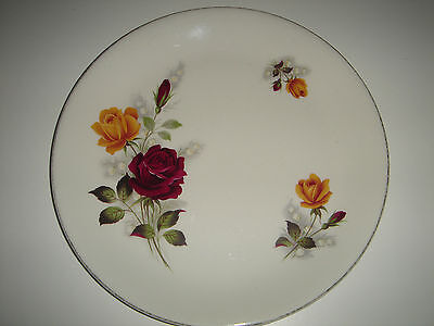 Dinner Plate Myott England Ironstone Yellow Red Rose Design Vintage Collectable
