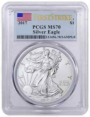 2017 MS-70  PCGS Silver Eagle $1 1 oz Silver First Strike Flag Label