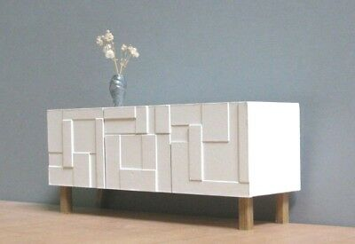 White Sideboard/Credenza 1:12 scale,Collectible Miniature Furniture,Modern Style