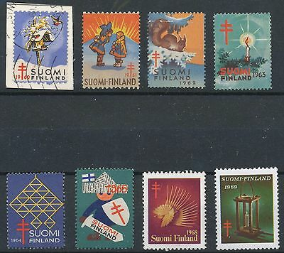 Finland 1960-1969 Used - 8 different official Christmas seals Anti-Tuberculosis