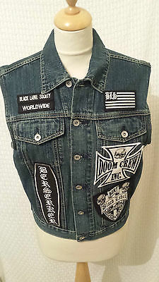 Black Label Society denim waistcoat with patches size S rock metal