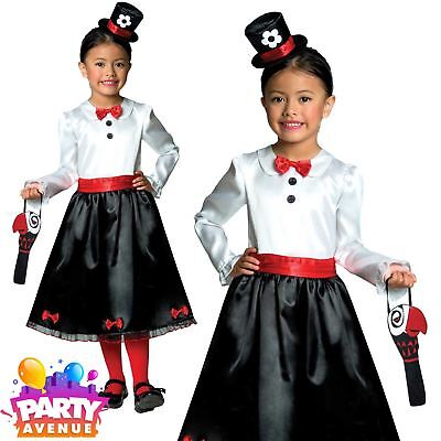 Girls Victorian Nanny Costume Childs Fancy Dress Book Week Day Outfit 3-4yrs