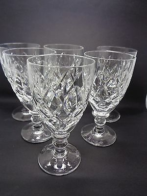 Set 6 Webb Corbett England Numbered 67 Wine /liqueur Glasses Cut Glass Knopp