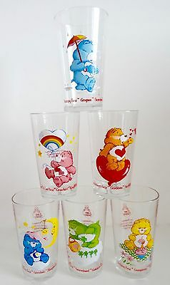 Vintage Care Bear Glasses x6 - European Release-Excellent Condition - Never used