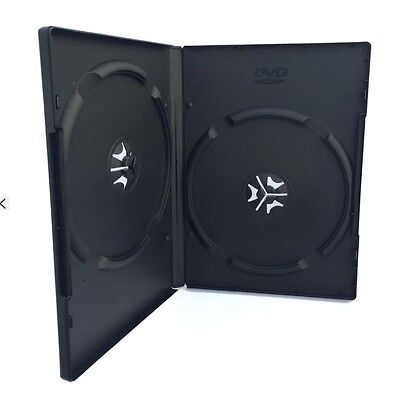 3 X Double Black 14mm  Quality CD DVD Cover Cases Standard Size DVD Black Front