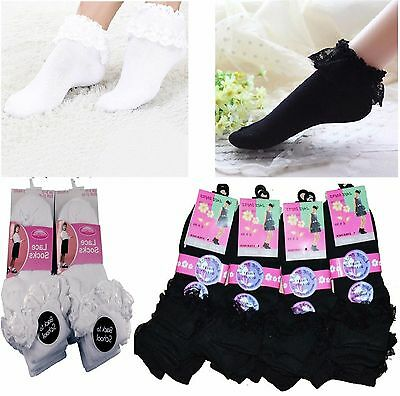 6,12 Pairs of Girls Women Ladies Frilly Lace Top Cotton TRAINER Ankle Socks - G