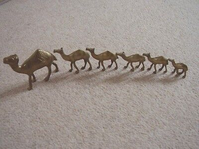 Vintage Brass-metal Camel -animal figure-ornament,set of 6 pieces