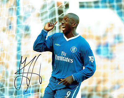 Jimmy Floyd HASSELBAINK SIGNED Autograph 10x8 Photo A AFTAL COA Chelsea Legend