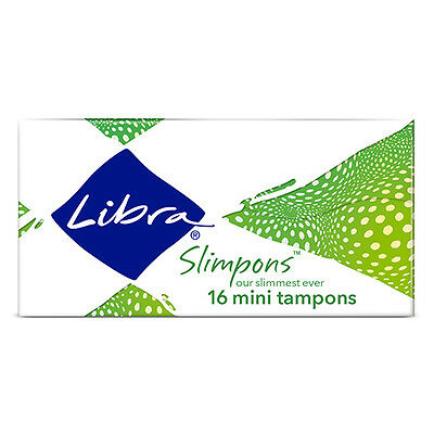 NEW Libra Tampons Mini Tapered Tip And Base Grooved For Absorption 16 Pack