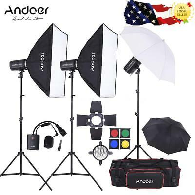 Andoer MD-250 750W Studio Strobe Flash Light Kit + Light Stand for Photography
