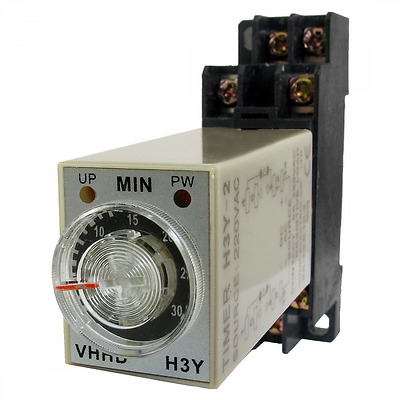 AC 220V 0-30 Minute 30m Timer Power On Delay Time Relay 8 Pin H3Y-2 w Socket
