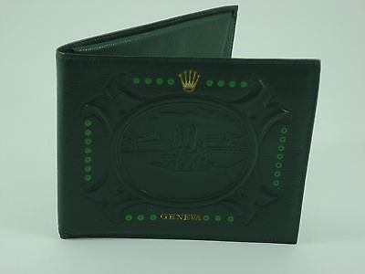 Genuine Rolex vintage green leather embossed wallet 1950s