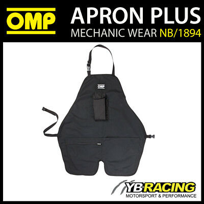 NB/1894 OMP Racing Pit Crew Mechanic Work Apron Black with Pouch & Tool Pockets