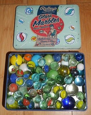 Vintage Style Ridley's Tin Of Glass Marbles Classic Selection 77 Some Original