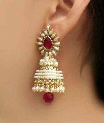 FTJH11, Stylish and Trendy Gold Plated Pearl Jhumki Earrings