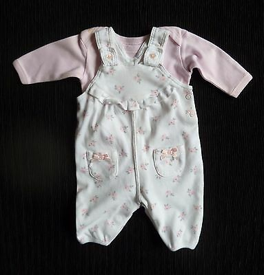 Baby clothes GIRL premature/tiny<6lb/2.7k outfit white roses dungarees/bodysuit