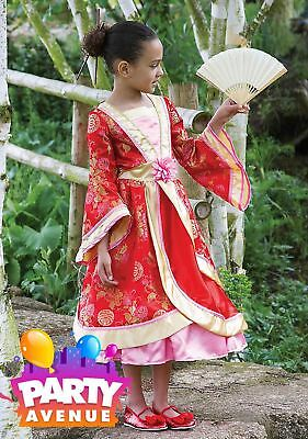 Girls Oriental Princess Childs Costume Chinese Japanese Fancy Dress Outfit