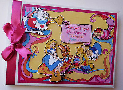 Alice In Wonderland/girl /first/1St Birthday Guest Book Any Design