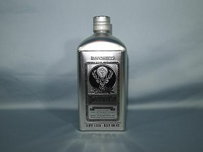 Jaggermeister Tin Bottle Metal Flask Container Silver Black